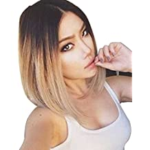 Tsnomore Ombre Sexy Bob Straight Synthetic Lace Front Women Wig (Ombre Blond)