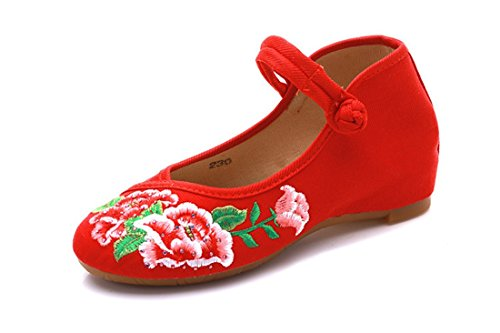 Zapatos de Tacón/Spring, Summer and Thick Within The Elegant China Increased The Embroidered Cloth Shoes Red