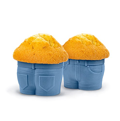 4-PACK Creationtop Silicone Baking Muffin DENIM PANTS Cup Cupcake Liners Molds Set