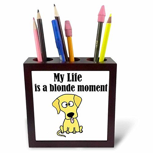 3dRose All Smiles Art Funny - My Life is a Blonde Moment Funny Yellow Labrador Retriever - 5 inch tile pen holder (ph_252614_1) (Labrador Porcelain Yellow)