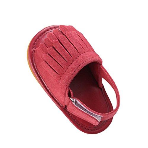 CHENGYANG Kinder Sandalen Schuhe Rutschfest Quaste Kleinkind Ersten Wanderer Sommerschuhe für Babys Rot#2