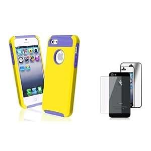 Cerhinu Everydaysource compatible with Apple? iPhone? 5 Hybrid Purple TPU/ Yellow Hard Case + 2 LCD Kit Mirror Screen...
