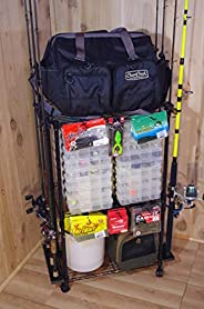 Organized Fishing Adjustable 3-Shelf Rolling Tackle Trolley for Fishing Tackle Storage, Holds up to 12 Fishing