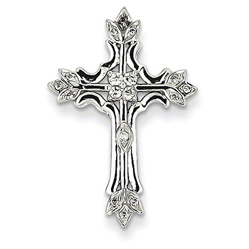 Or blanc 14 carats serti de diamants bruts JewelryWeb-Pendentif croix