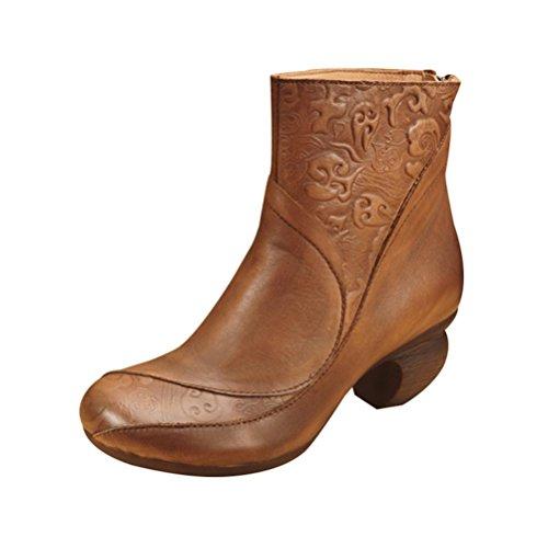 romani da di scarpe genuino Shu donna laterale del Stivali Shu coffee della Retro tallone QPYC semplice del lampo resistenti Scarpe delle cuoio chiusura RwIq5nt
