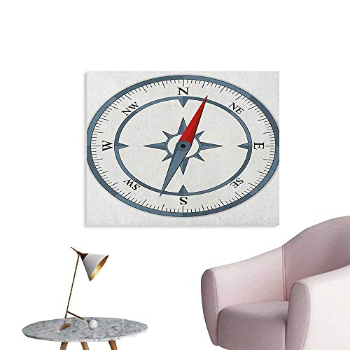 Anzhutwelve Compass Photographic Wallpaper Minimalist Design Compass with Windrose Finding Your Way on The Sea Navigation Poster Paper Slate Blue Red W36 xL32 ()