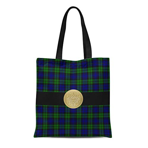 (Semtomn Cotton Line Canvas Tote Bag Blue Knotwork Black Watch Tartan Plaid Celtic Knot Green Reusable Handbag Shoulder Grocery Shopping Bags)