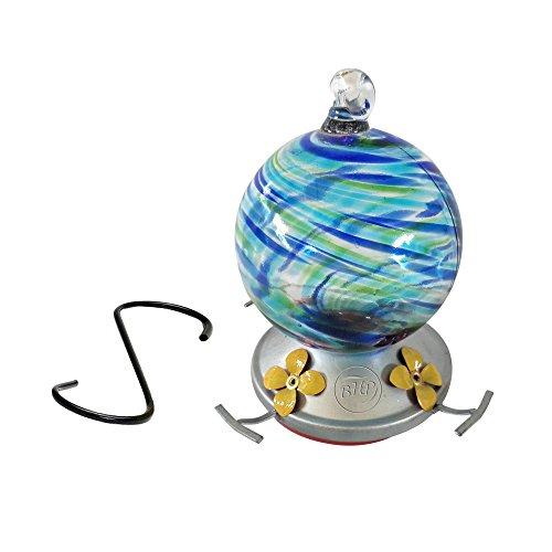Blue Hummingbird Feeder (Best Home Products Hummingbird Feeder, Blown Glass, Blue Lagoon, 3 Cups)