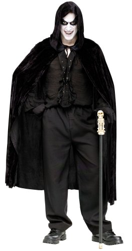 Fun World  Velvet Hooded Cape Costume Accessory Accessory, -black, Standard