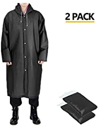 "Portable Adult Rain Poncho, Reusable Raincoat with Hoods and Sleeves, Size 45.2"" by 24.8"""