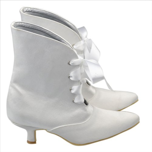 Minishion Womens Mid Heel Satin Evening Party Bridal Wedding Shoes Strappy Ankle Boots White-5cm Heel aCDOcSG1G
