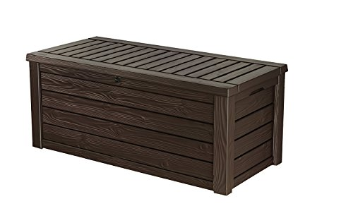 150 Gallon Outdoor Deck Box Patio Storage Bench, Stylish Natural Wood-Paneled Finish and Texture Made out of Durable and Weather-Resistant Polypropylene Resin, Automatic Easy-Opening (Weather Out Pool Heater Cover)