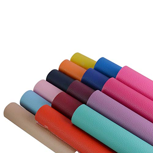 15 Pieces A4 Size Bright Color 1.2MM Thickness Litchi Grain Texture Synthetic Faux Leather Fabric Sheets Cotton Back for Making Hair Bows, Earrings, Placemats,15 Color Each Color One Sheet