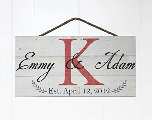 Artblox Personalized Rustic Family Wood Sign Home Decor, Custom Couple Names, Family Initials & Established Date, Real Vintage Barn Wood Farmhouse Style Wooden Wall Art Country Pallet Plaque 10.5x21