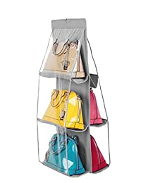 Santwo 6 Pocket Handbag Storage Clear Hanging Closet Bags Organizer Purse Holder Anti-dust Cover Shoes Save Space
