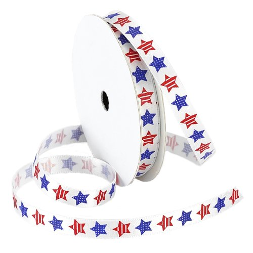 Printed Paper Ribbon - Morex Ribbon Betsy Ross Printed Satin Ribbon Spool, 3/8-Inch by 5-Yard, Red/White/Blue