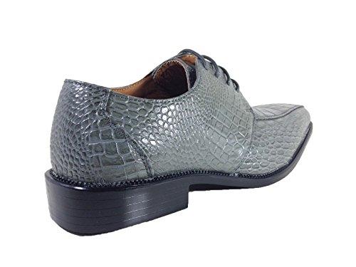 Enzo Romeo Gator Heren Alligator Krokodil Print Oxfords Loafers Mode Slip Op Kleding Schoenen Grijs