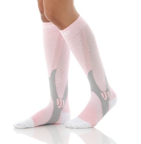 Mojo Recovery & Performance Compression Socks, 1 Pair Stockings, for Calf Strains, Running, Shin Splints, Varicose Veins, Injury Recovery & Prevention, Firm Support (20-30mmHg)(Large, Pink)