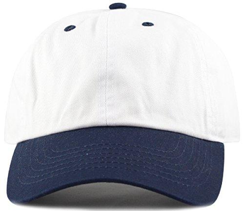 MIRMARU Two Tone 100% Cotton Stonewashed Cap Adjustable Hat Low Profile Baseball Cap.(Navy)