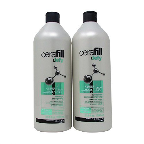 Redken Cerafill Defy Shampoo and Conditioner Set for Normal to Thin Hair (33.8 Fl Oz Each)