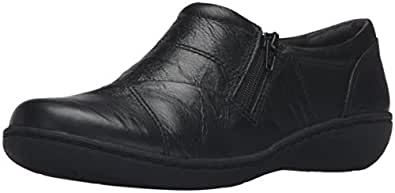 Clarks Women's Fianna Ellie Slip-On Loafer, Black Leather, 5.5 M US