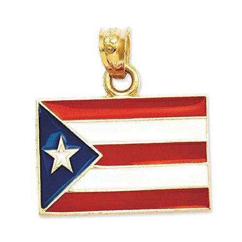 En Or 14carats émaillé Porto Rico Drapeau Pendentif-Dimensions 21,2x 18.1mm