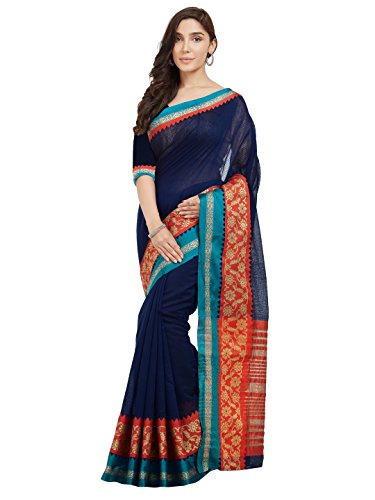 or Women's Navy Blue & Red Cotton Art Silk Saree with Un-Stiched Blouse Piece,Bollywood Sari ()