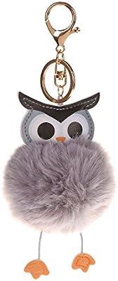 SODIAL Nuevo Pompon Lindo Buho Mullido Llavero Faux Rabbit Fur Ball Mujeres Bolso Colgante del Coche Llavero joyeria de Moda Regalo Gris Claro