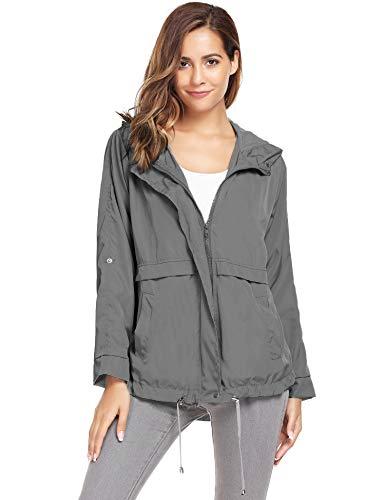 Zeagoo Women Waterproof Rain Jacket Hoodie Windproof Outdoor Coat Venture Windbreaker