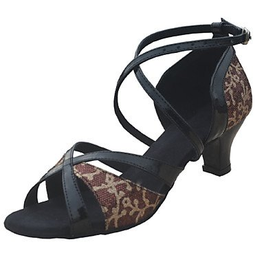 Anpassen Performance Tanzschuhe Kunstleder / paillette oberen Latin Schuhe für Frauen , black