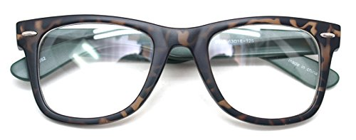 Classic Horn Rim Nerd Square Eyeglasses Spectacles Geek Clear Lens Rectangle Glasses (Tortoise9910, - Glasses Geek Lens Clear