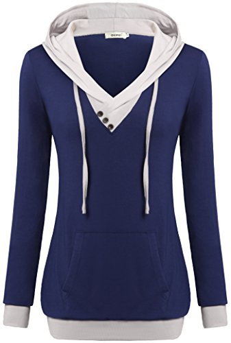 Women Hoody Sweatshirts,Bepei Lightweight Plus Size Casual Active Wear Blue XL