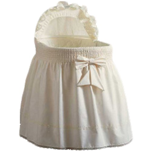 aBaby Embossed Damask Creation Bassinet Liner/Skirt and Hood, Ecru, 13