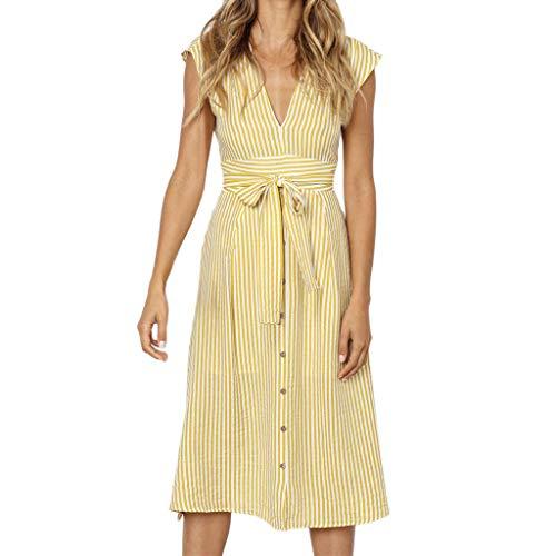 Long Dress Woman Chic Sleeveless Summer Boho Striped Deep V Neck Beach Dress Women Sundress Maxi Plus Size S ~ XXL Toponly ()