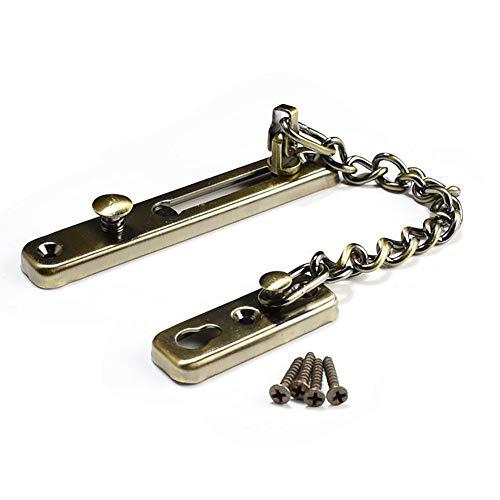 Rannb Security Stainless Steel Casting Door Chain Lock Door Chain Latch Door Guard for Inside Door Home Office (Antique Bronze)