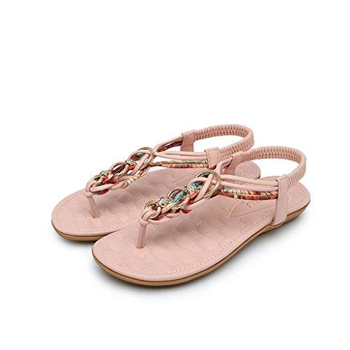Inferior Retro Parte Coreana Sandalias Rome de Beach Versión Abierta Femenino Bohemias Punta la Verano de Sandals Estudiante Pink Zapatos gnwS8xPn