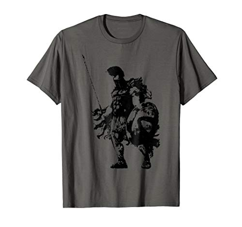 Cool Silhouette Spartan Warrior Tee - Spartan Armor Weapons