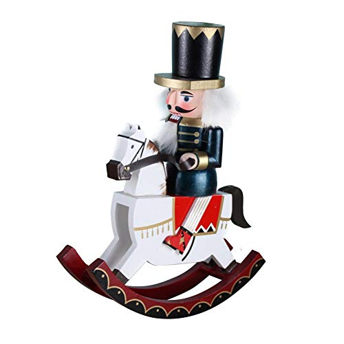 Cherry-Lee 30CM Wooden Clip Puppet Nutcracker, Rocking Horses War Horses Walnut Soldiers Doll Pendant Desk Tabletop Ornaments Holiday Decorations Festive Traditional Hand Painted s Collecti