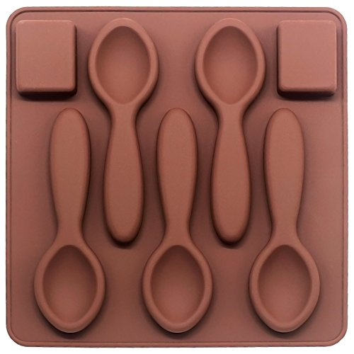 Funshowcase 7 cavities Spoon and Cube Sugar Chocolate Cookie Silicone Mold (Mold Spoon)