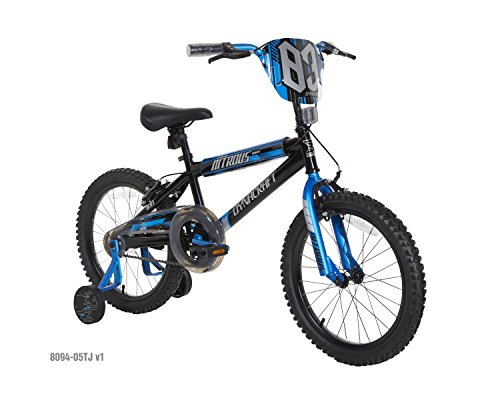 Dynacraft Boys Nitrous Bike, Black/Blue, 18″, Black/Blue