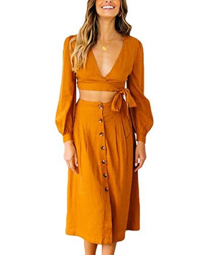 QINSEN Women Pleated Swing Dress Tie Knot Wrap Long Sleeve High Waist Maxi Two Piece Outfit Dress S Khaki