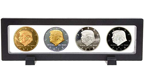 Donald Trump Collectors Coin 2018 Set, Gold and Silver Plated 4 Coin Set with Display Case, Commemorative 45th President of The United States Collectible