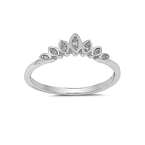 Deco Sterling Ring Art (Sterling Silver Clear Cubic Zirconia Art Deco Design CZ Ring - Size 6)