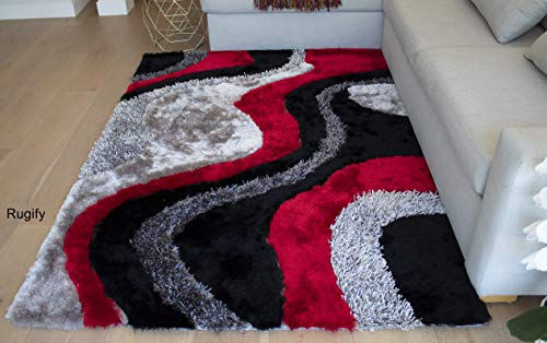 - SALE! BRAND NEW! Red Black Gray Grey Shaggy Shag Carved Fluffy Fuzzy Furry Flokati Area Rug Carpet 8' X 10' High End Designer Quality High Pile 3D Plush Living Room Bedroom ( Signature New 72 Red )