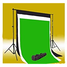 CowboyStudio Photography 10' X 20' Black, White & Chromakey Green Muslin Backdrops with 10 ft Heavy Duty Background Support System With Carrying Case