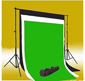 CowboyStudio Photography 10 X 12- Feet Black, White & Chromakey Green Muslin Backdrops with Background Support System and Carry Bag