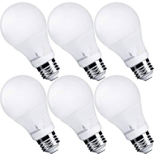 Hyperikon Dimmable LED Light Bulbs, A19 60 Watt Equivalent LED Bulbs, 9W, 2700K Warm White, E26 Base, 6 Pack