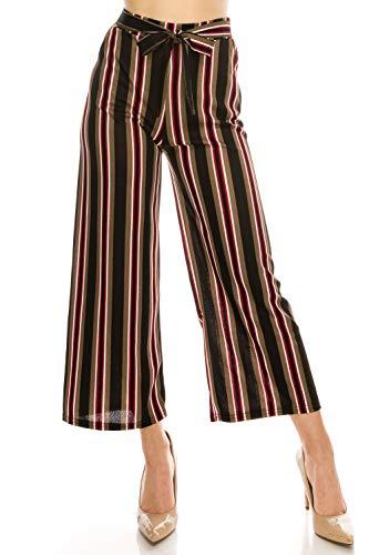 LA12ST Women High Waist Casual Self Tie Stripe Wide Leg Palazzo Pants Trousers