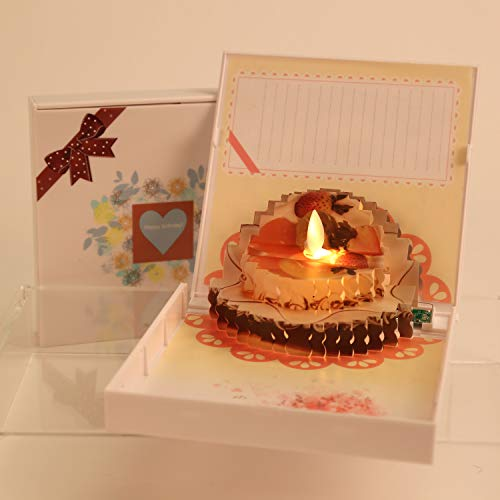 Antizer Pop Up Happy Birthday Card Creative Handmade Flickering Flameless Candles Cake Card To Express Your Love To Friends & Family (Valentines Cards Birthday)