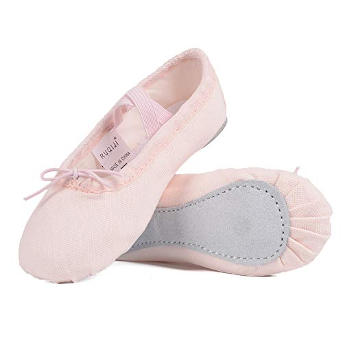 Ballet Shoes for Girls/Toddlers/Kids, Black Canvas Ballet Shoes/Pink Ballet Slippers/Dance Shoes (1 M US Little Kid, Light Pink-Canvas-Full Sole)